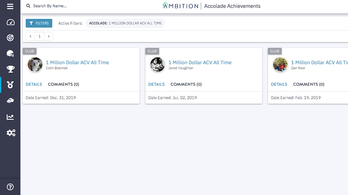 Ambition Gamification - Accolades